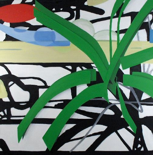 'Zebra Jungle Seated' by artist Heather Lander
