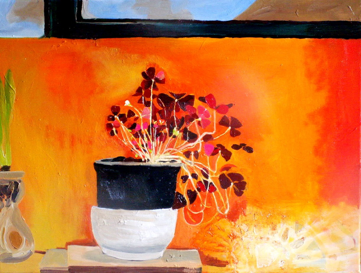 'Red Leaves, Orange Wall' by artist Rachel Vollerthun [ nee Sedley ]