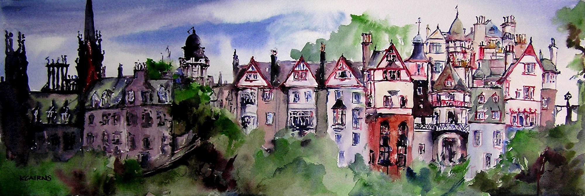 'Old Town Heights, Ramsay Gardens' by artist Karen Cairns