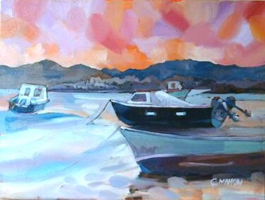 'Boats, Low Tide, Armadale Bay' by artist Gary Mahon