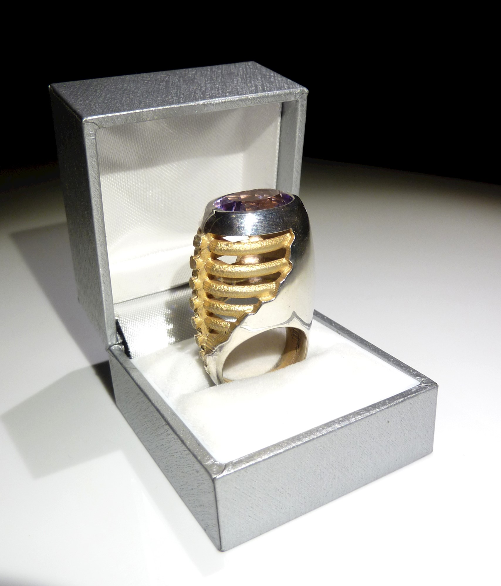 'Amethyst Backbone Cocktail Ring' by artist Inness Thomson