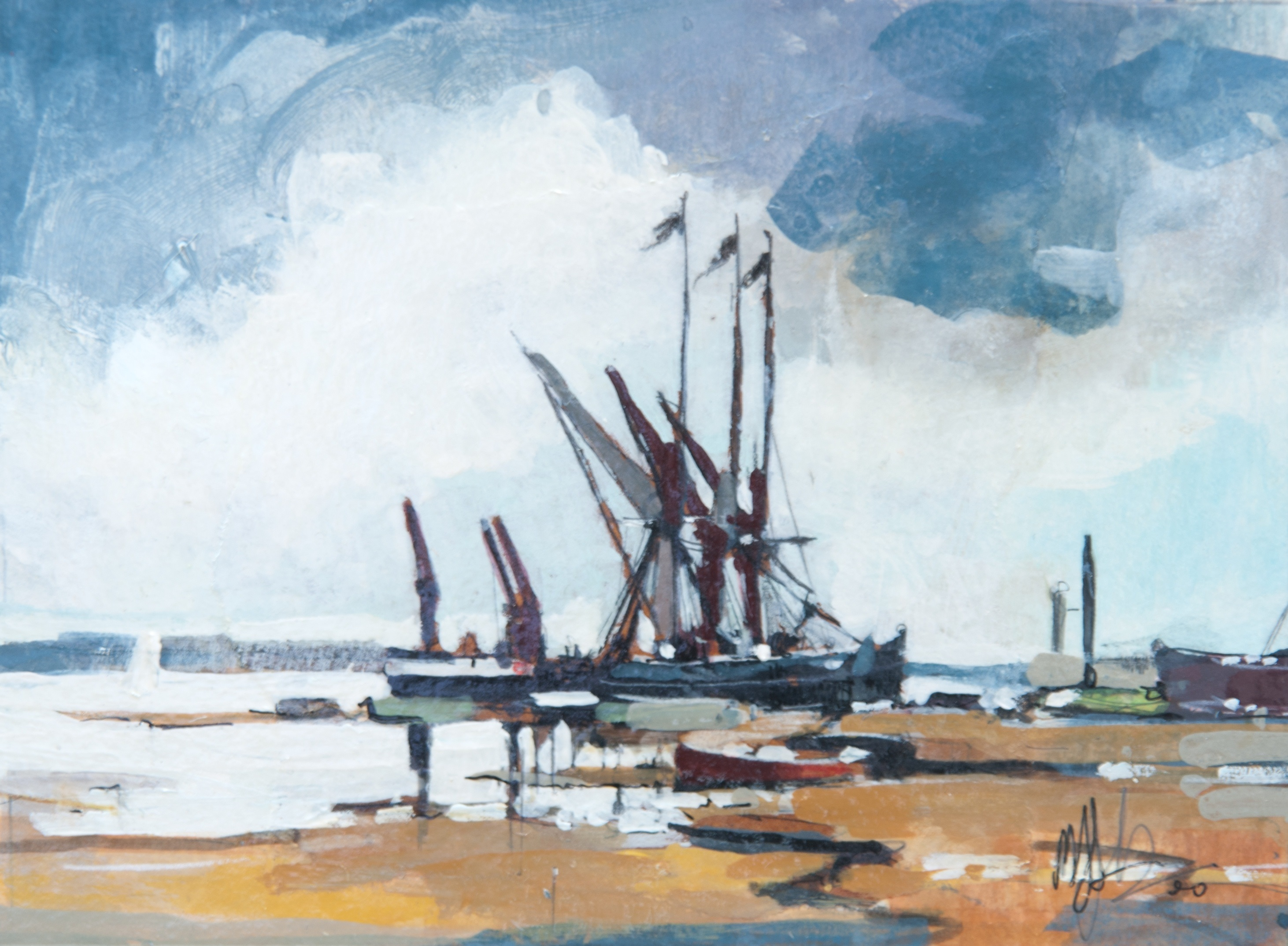 'Fishing Boats, Low Tide, Sketch' by artist Malcolm Cheape