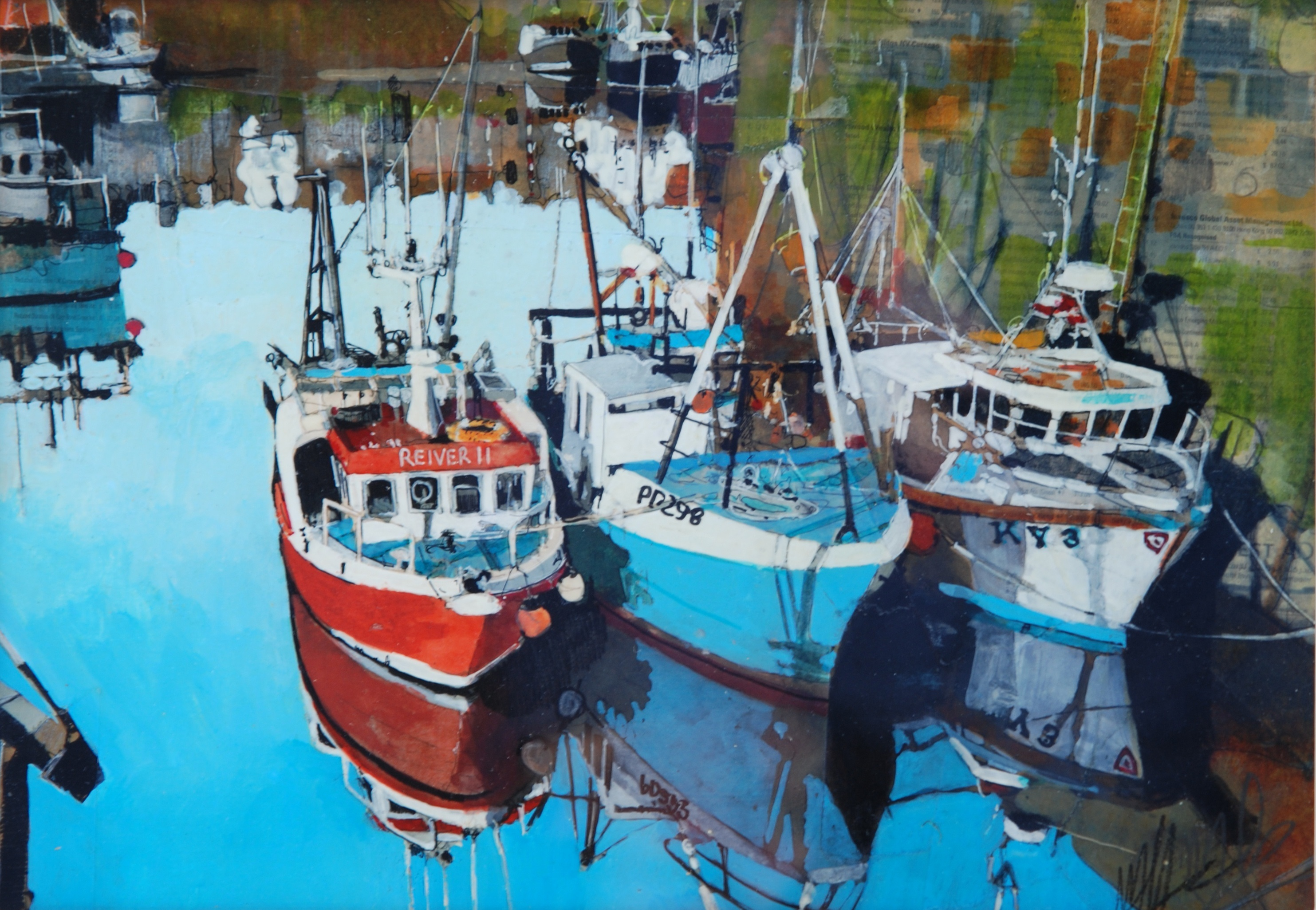 'Fishing Boats in Port' by artist Malcolm Cheape