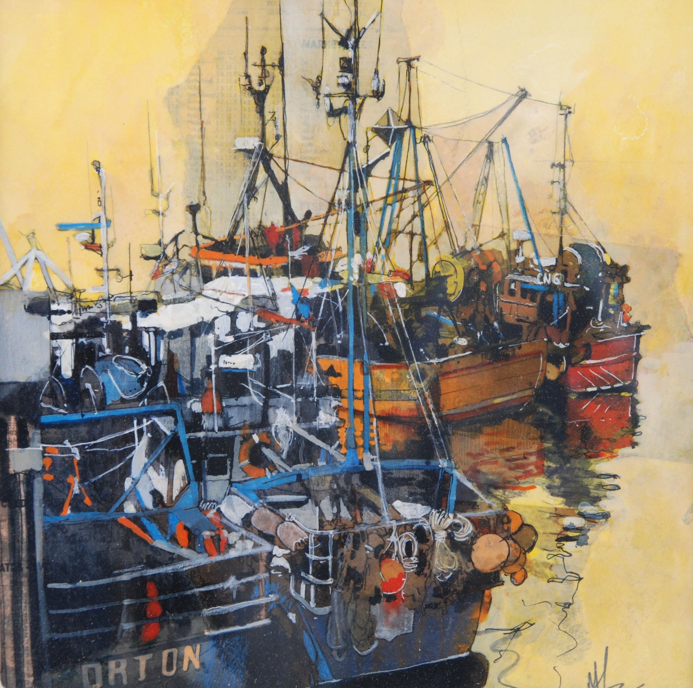 'Fishing Boats at Quay' by artist Malcolm Cheape