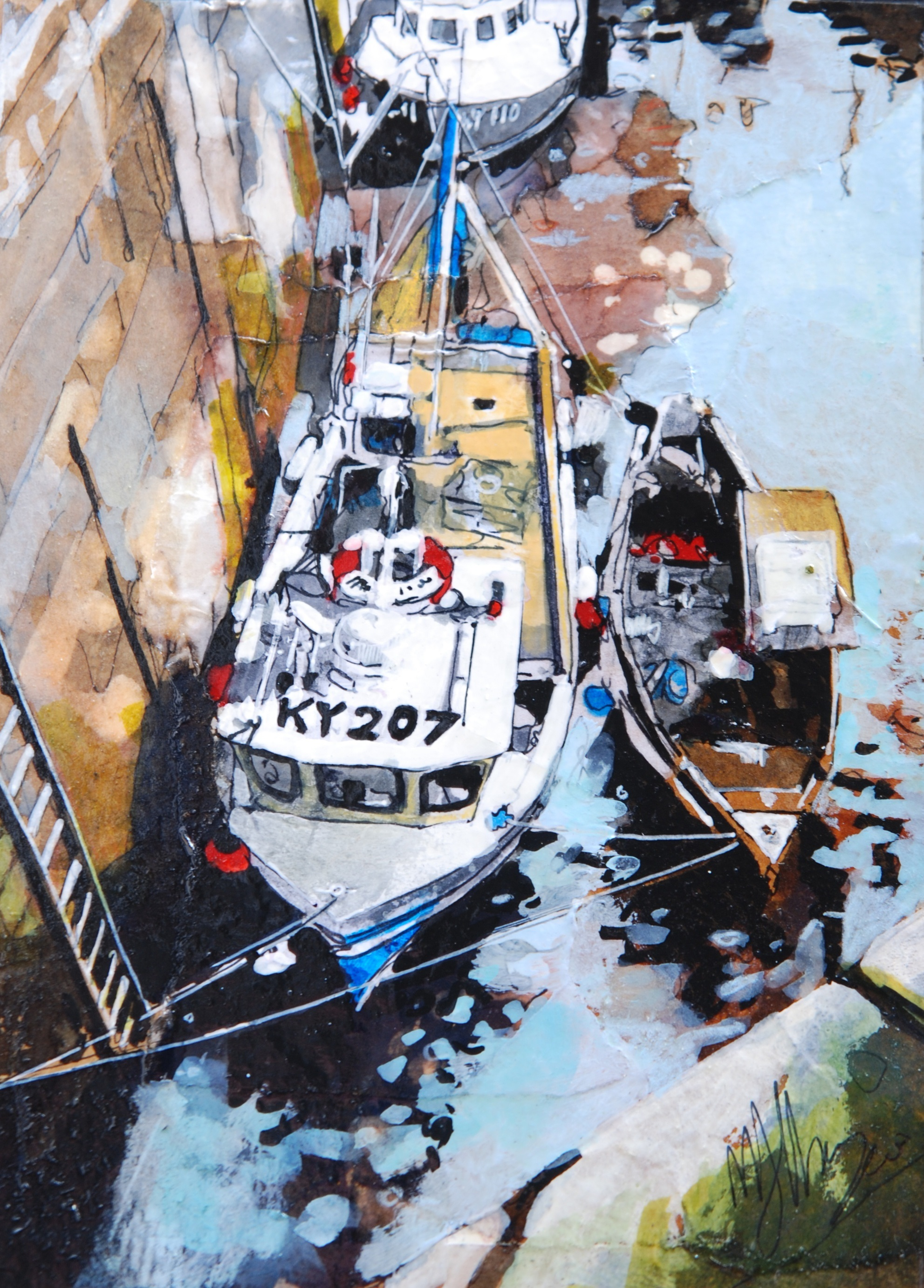 'Barges Awaiting Flood' by artist Malcolm Cheape
