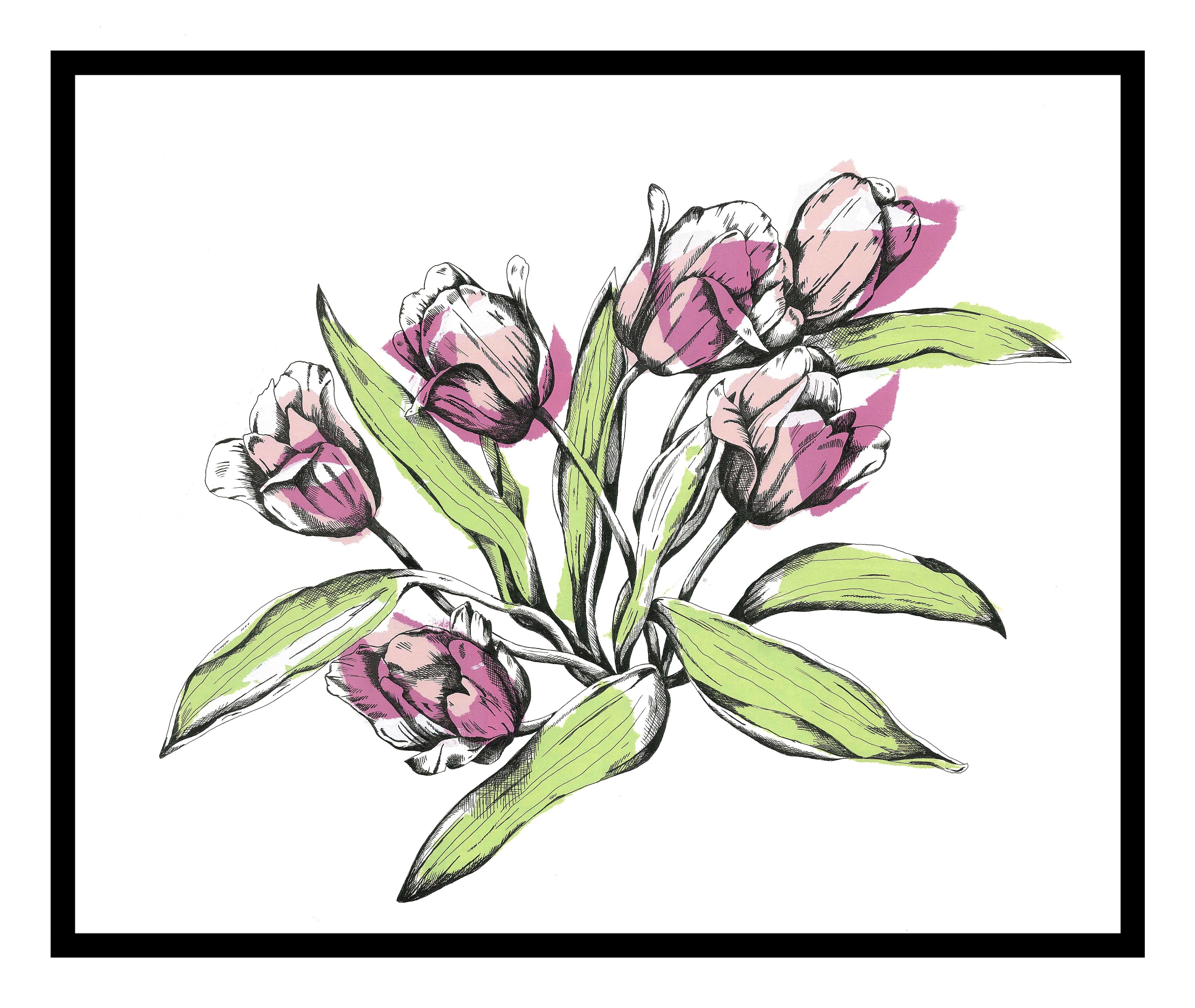 'Tulips - Original Screenprint' by artist Joanna Mcdonough