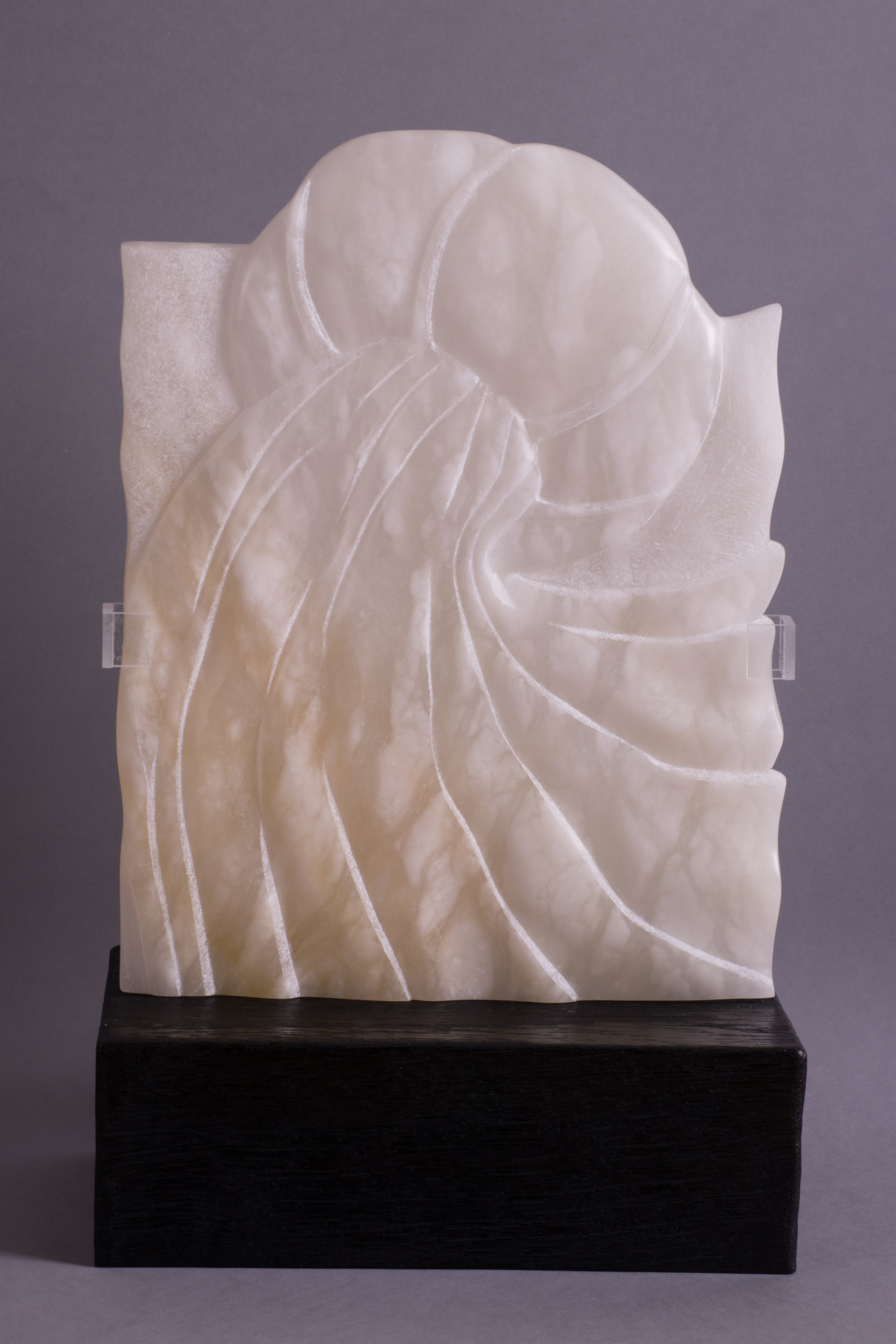 "'""Into the Sweet Night"" - Alabaster and charred wood plinth' by artist Ann Coomber"
