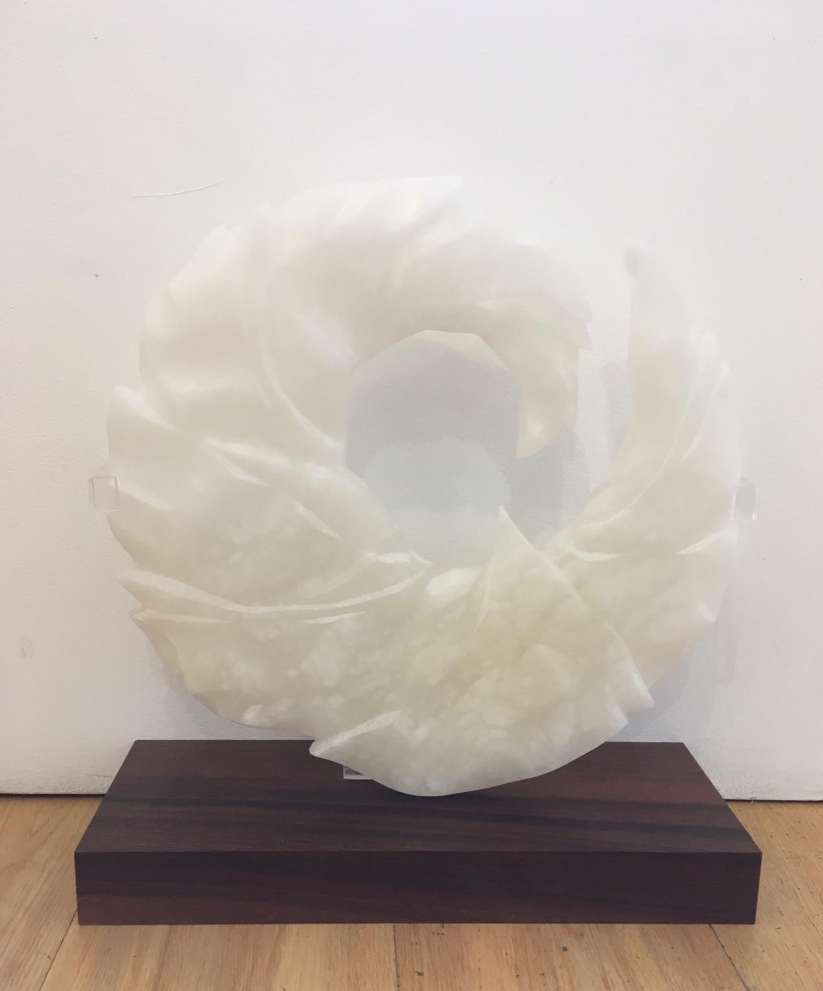 "'""Maelstrom"" - Alabaster and sapele plinth' by artist Ann Coomber"