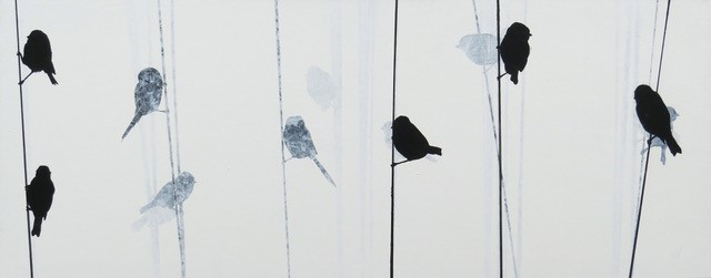 'Bluetits on Wires' by artist Sandra Vick