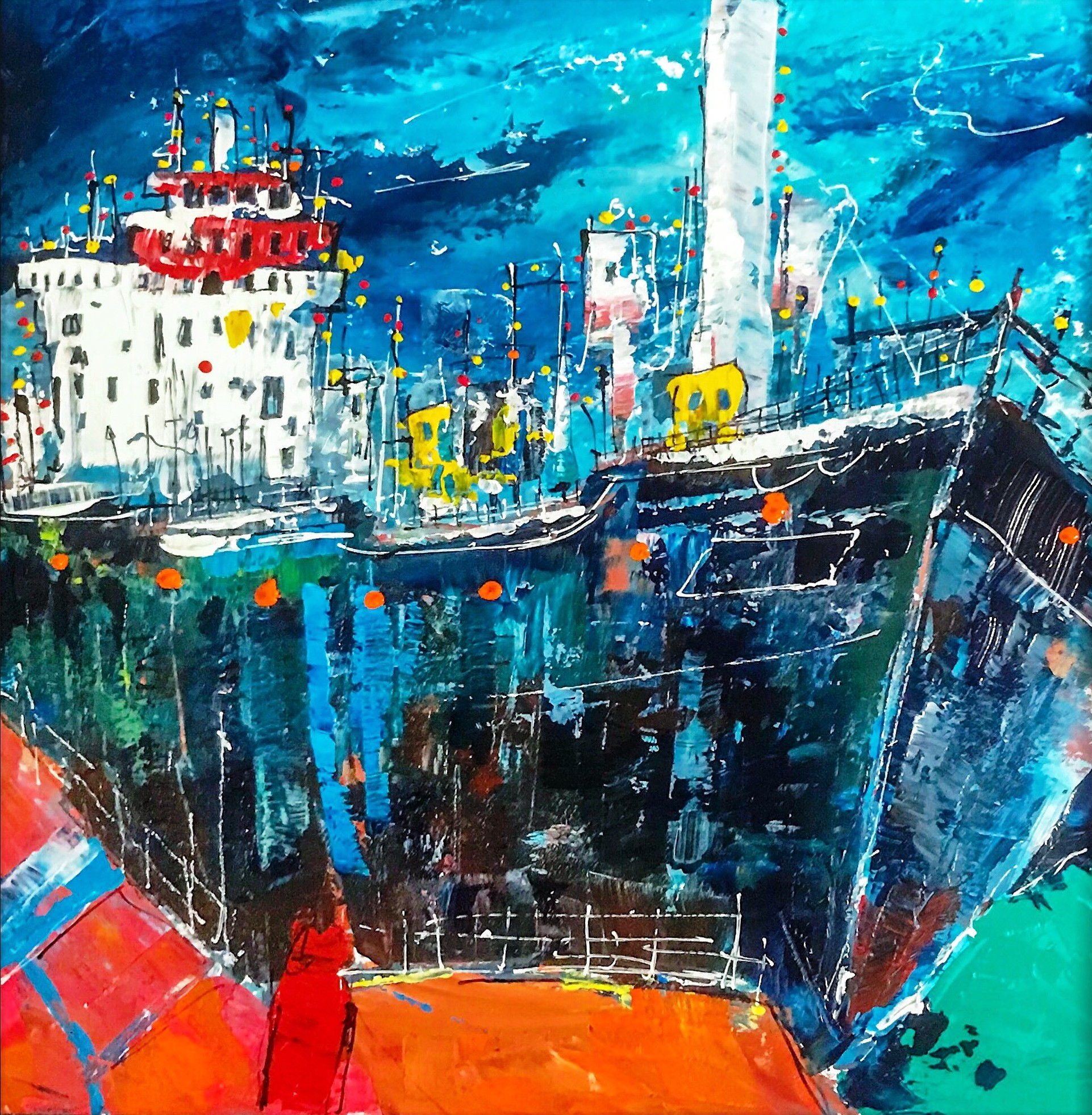 'Busy Harbour' by artist Martin John Fowler