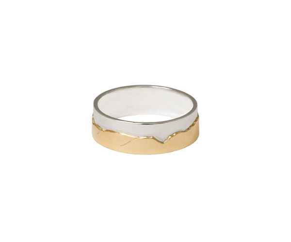 'Caringorms Ring - Sterling Silver and 9ct Gold' by artist Jen Cunningham