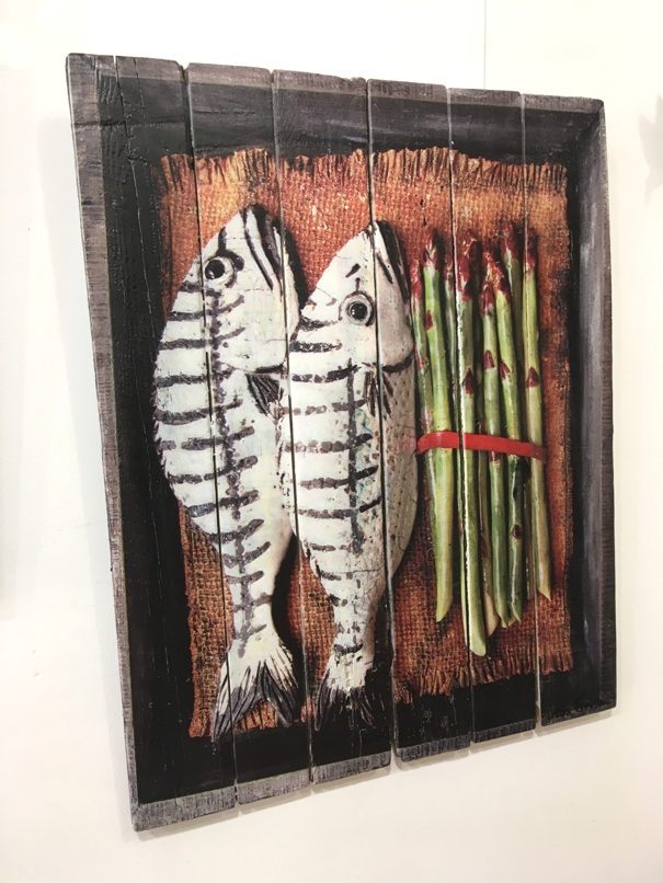 'Gilthead Seabream and Asparagus' by artist Diana Tonnison