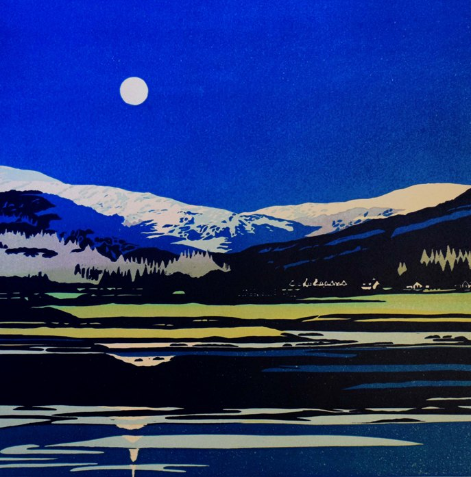 'Moonlight on Holy Loch 3/10' by artist Deb Wing