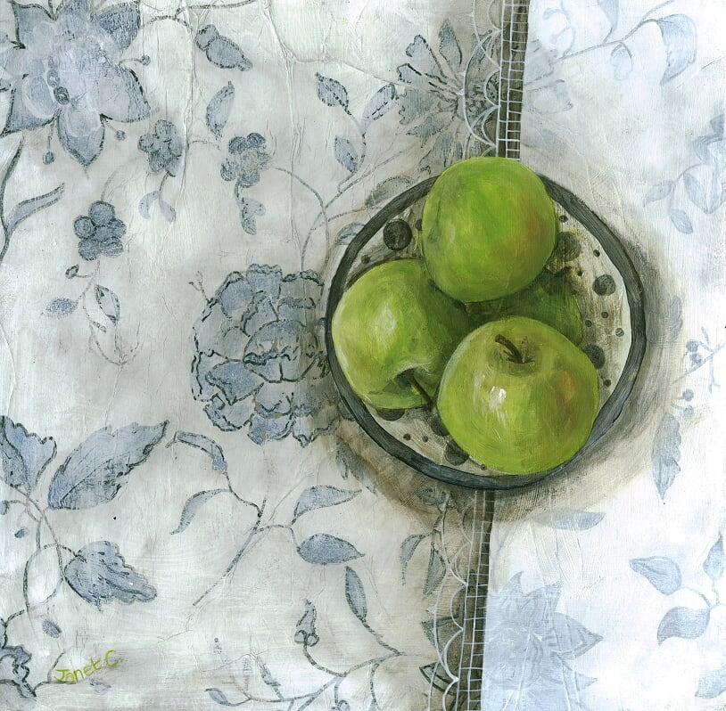 'Blue and White Granny Smiths' by artist Janet  Cleghorn