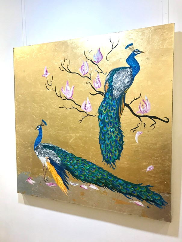 'Peacocks Together in Magnolia' by artist Sally Bruce Richards