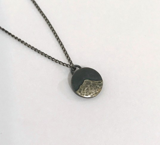 'Goatfell Necklace - Oxidised & Hammered Silver' by artist Jen Cunningham