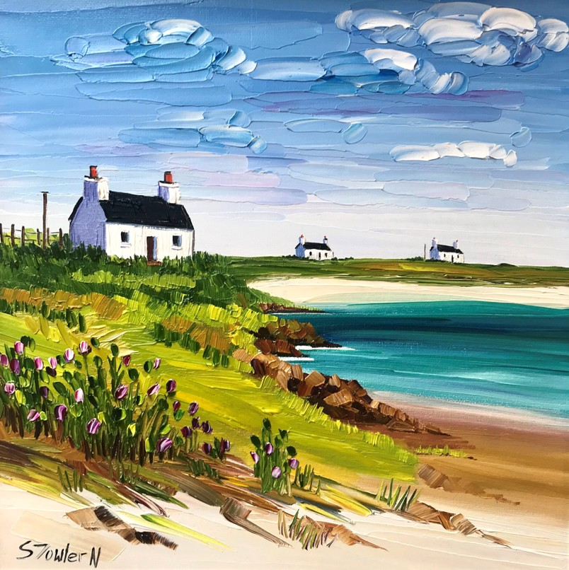 'Cottages and Wild Thistles Tiree' by artist Sheila Fowler