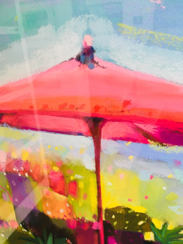 'Flower Stall with Pink Parasol' by artist Pam Glennie