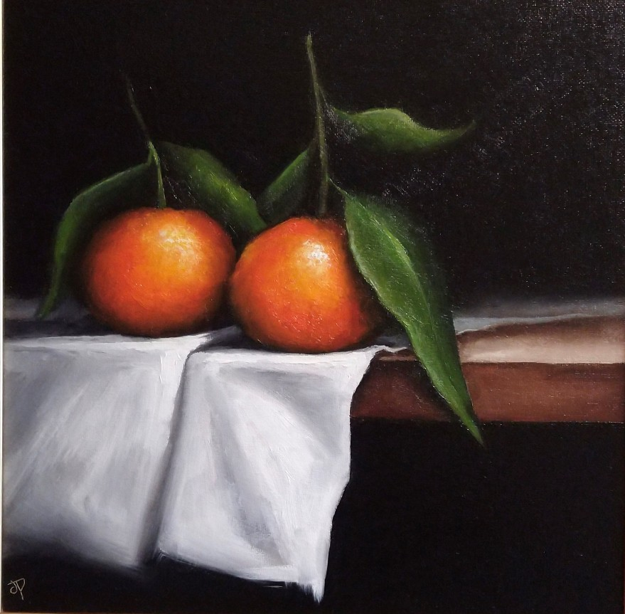 'Two Clementines on Cloth' by artist Jane Palmer