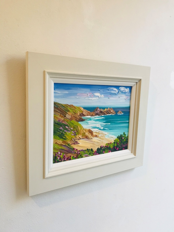 'Coastal Cliffs and Wildflowers, Porthcurno' by artist Sheila Fowler