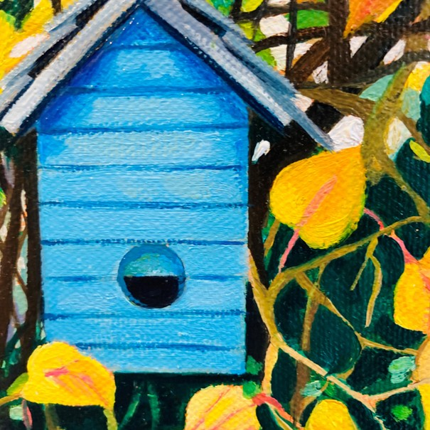 'Blue Birdhouse in Autumn Leaves' by artist Lesley Banks